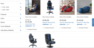 Gaming chair on Costco's page
