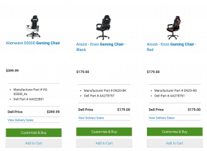Gaming chair on Dell's page