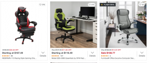 Gaming chair on Overstock's page