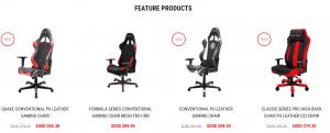Gaming chair on DXRacer's page