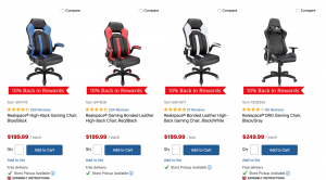 Gaming chair on Office depot's page