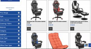 Gaming chair on American Furniture Warehouse's page