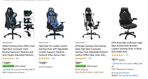 Gaming chair on Amazon's page