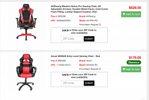 Gaming chair on Fry's page