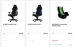 Gaming chair on Gamestop's page