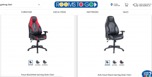 Gaming chair on Rooms to go page