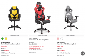 Gaming chair on Macy's page