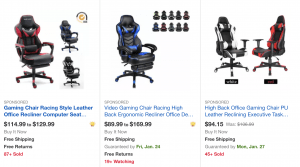 Gaming chair on Ebay's page