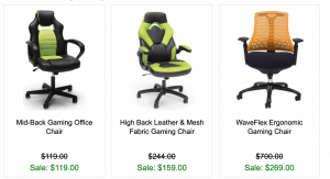Gaming chair on In Stock Chair's page