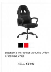 Gaming chair on Daily steal's page