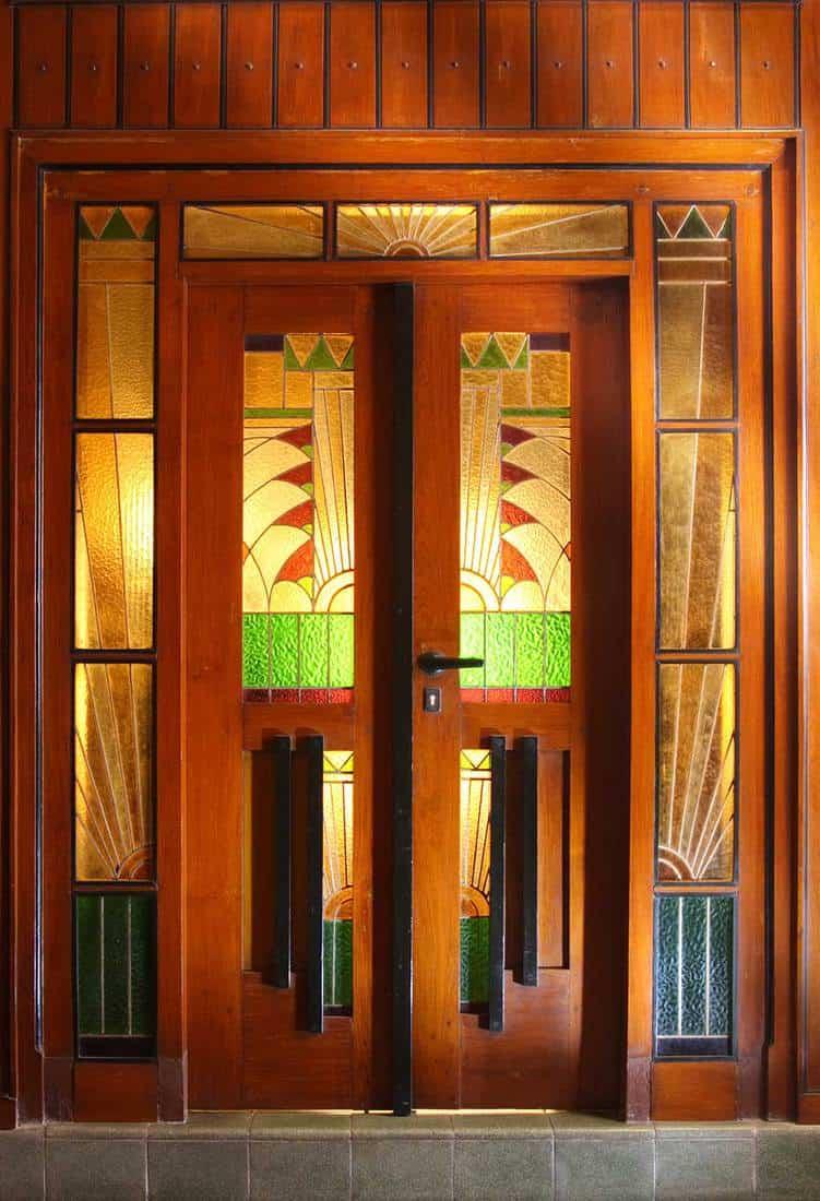 Stained glass art deco door