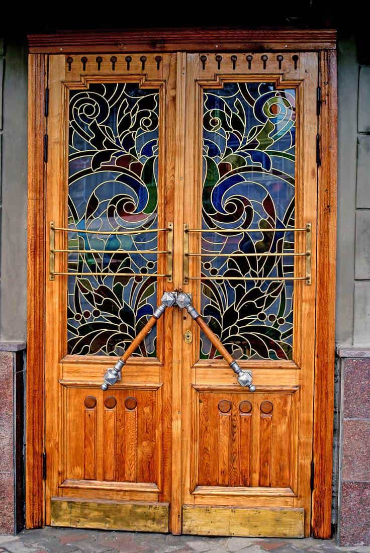Stained glass wooden door