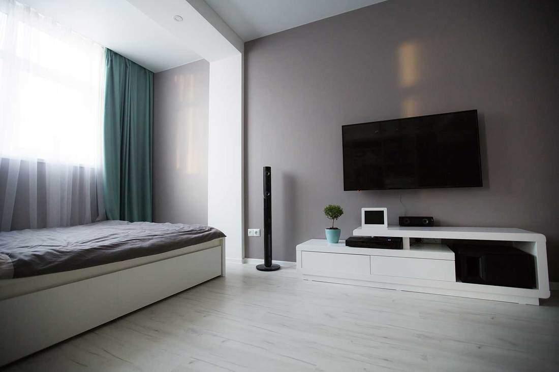 Studio type apartment with modern bedroom interior