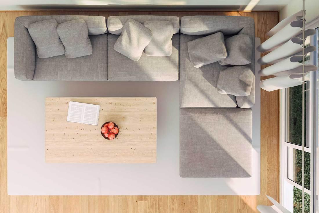 Top view of a scandinavian modern living room