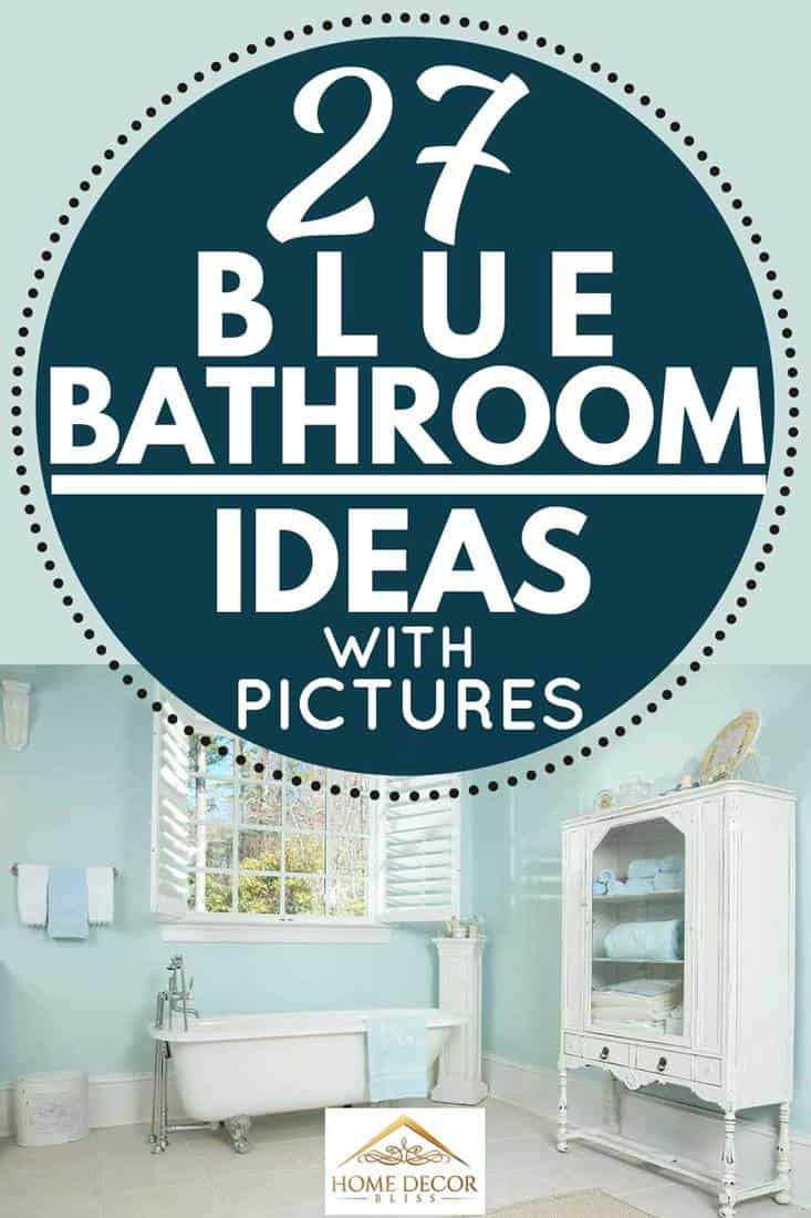Domestic bathroom interior with wooden cabinet bathtub and window on a sunny day, 27 Blue Bathroom Ideas [With Pictures]