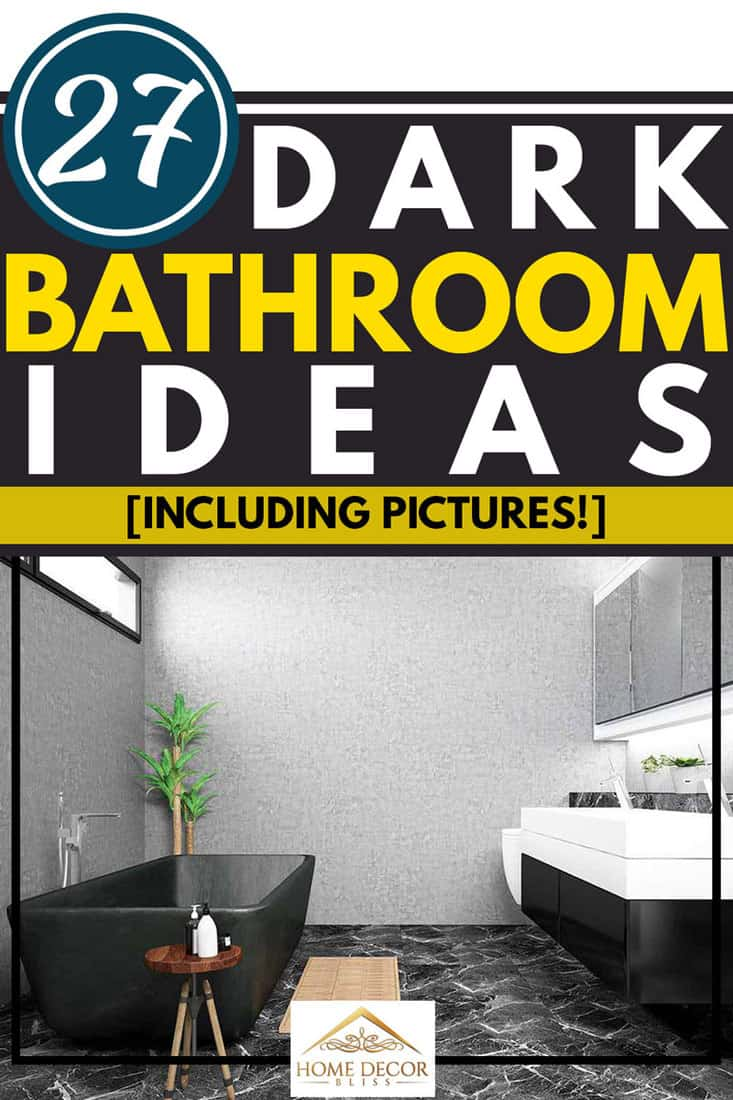 Black and white themed modern bathroom interior