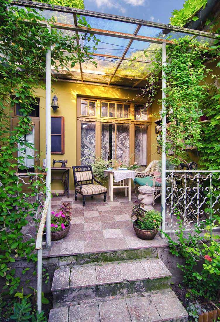 Beautiful home porch garden on a sunny summer day