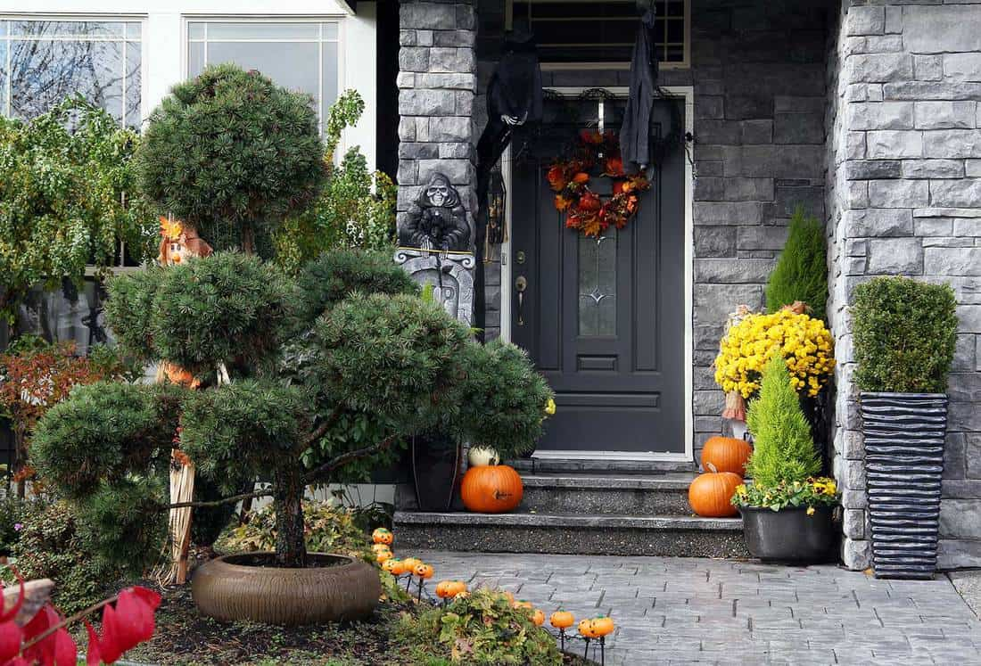 Black front door to a house decorated with Halloween pumpkins