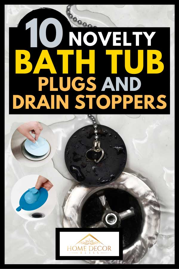 Collage of novelty bath tub plugs and drain stoppers with background of a draining water with drain rubber plug on shower bath