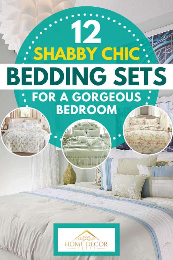 Collage of shabby chic bedding sets with cozy off white bedroom on the background