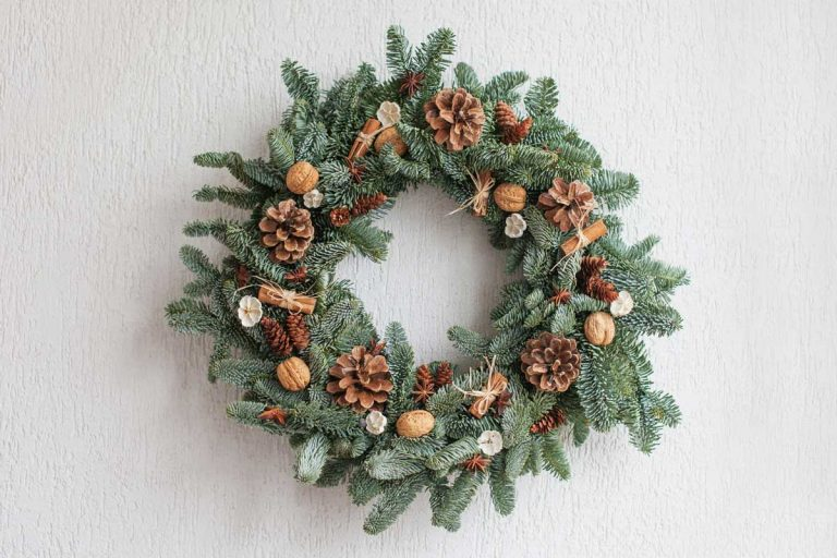 Decorative wreath with pine cones acorns and other decorative item for front door decoration, 18 Front Door Decor Ideas For Winter [Inc. images]