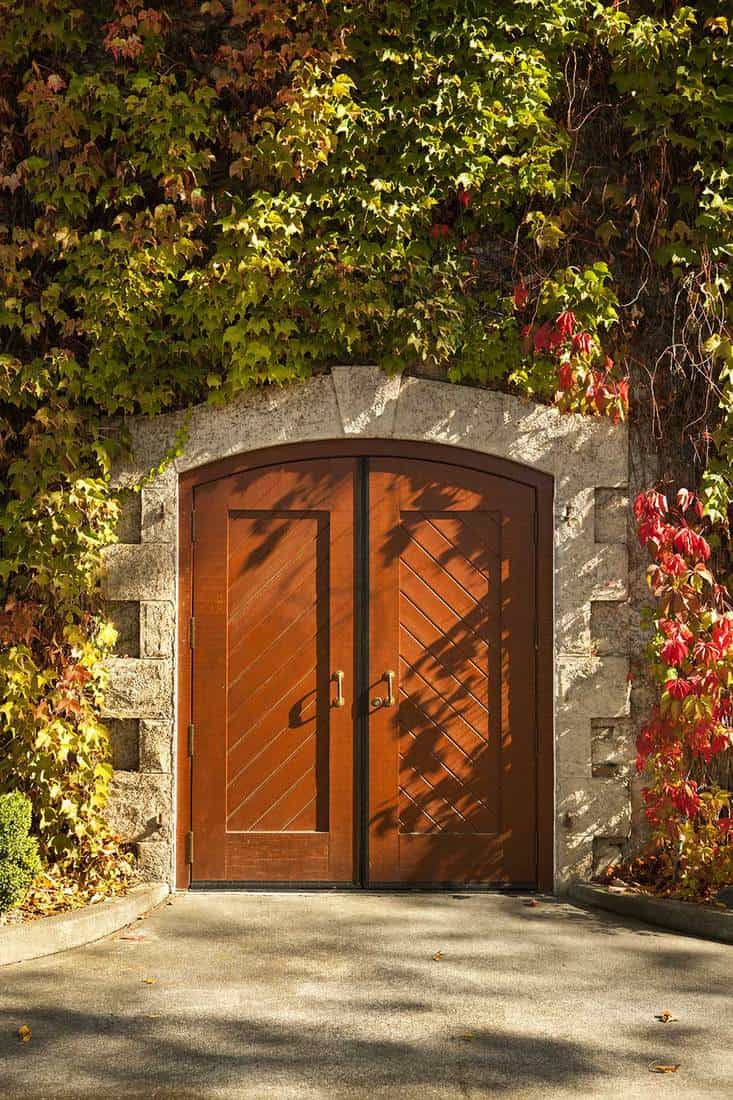 Fall entrance door of a winery building