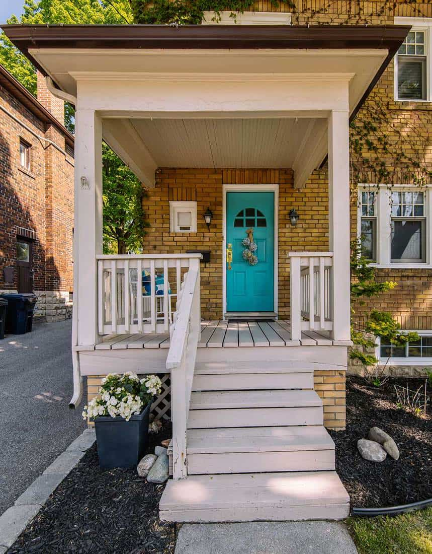 Front entrance with porch of typical north american city residence