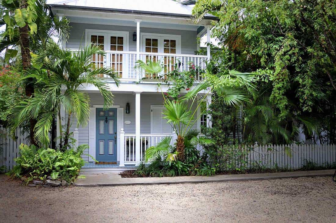 Front of a beautiful two storey antebellum style home