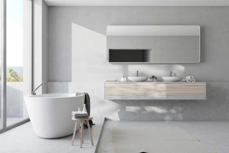 White modern bathroom with modern sink design