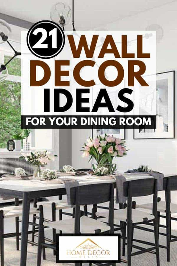 Luxury dining room with flowers on the table, nordic light chandelier and wall decors
