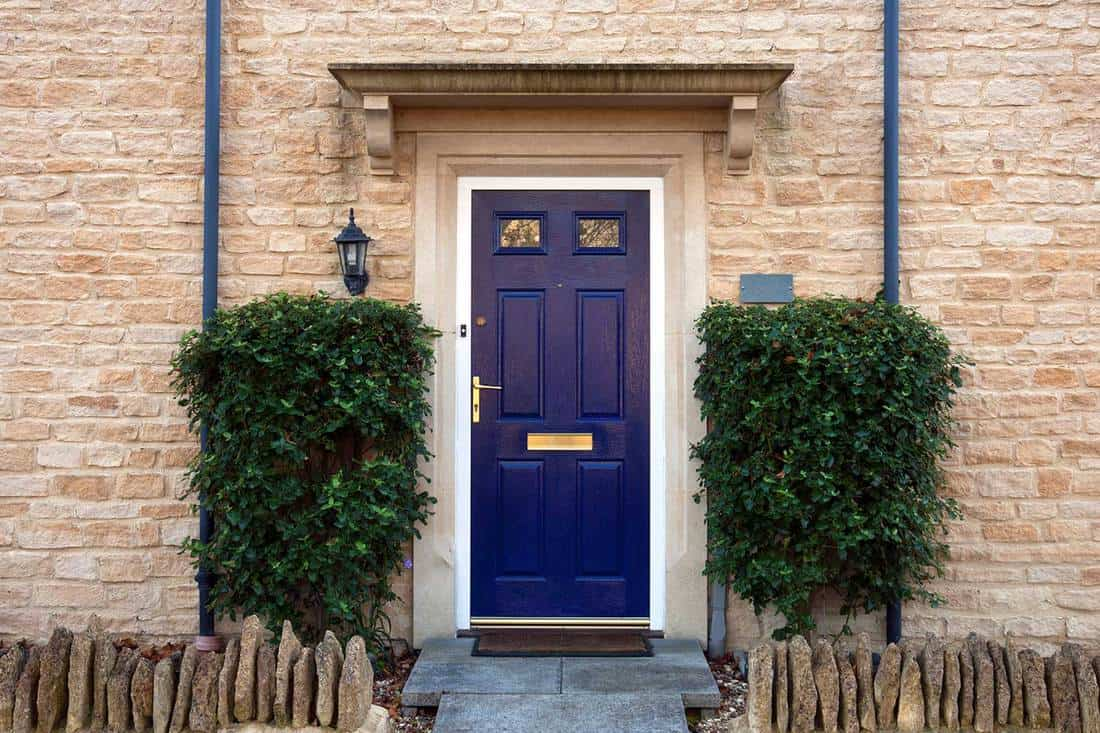 Modern blue painted front door flanked by shrubs of a modern brick house