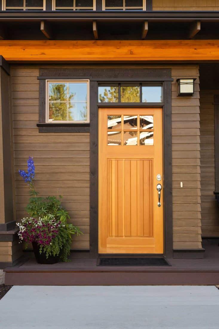 Modern brown designed door under porch with trellis