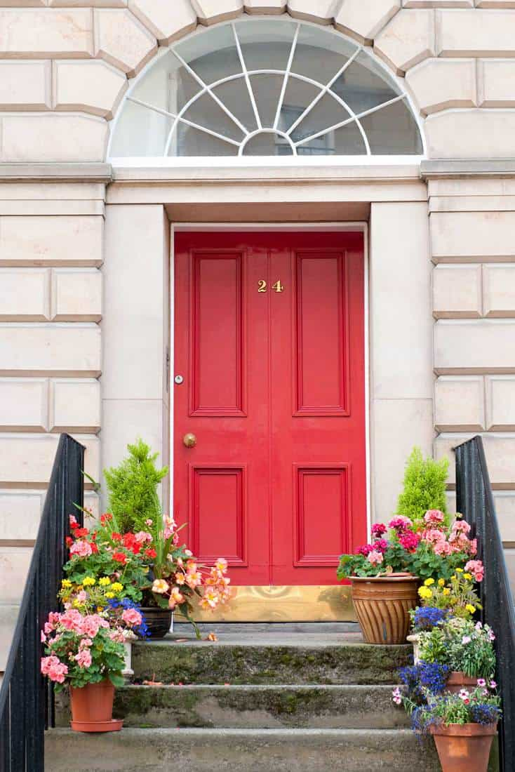 Red door with plants placed on stairs
