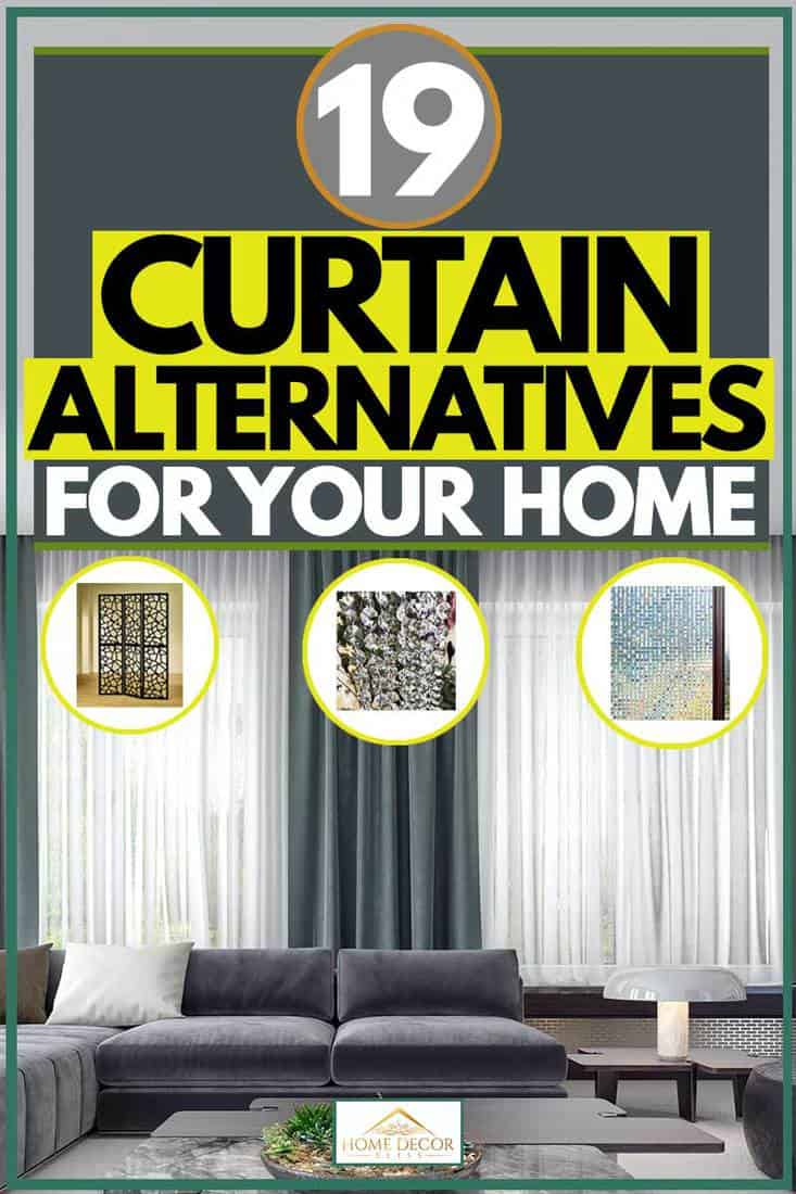 Grey sofa and blue green curtains with blinds,19 Curtain Alternatives For Your Home