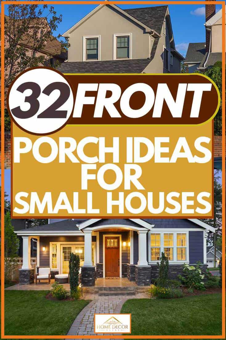 Modern home exterior with walkway to front porch and manicured lawn, 32 Front Porch Ideas For Small Houses
