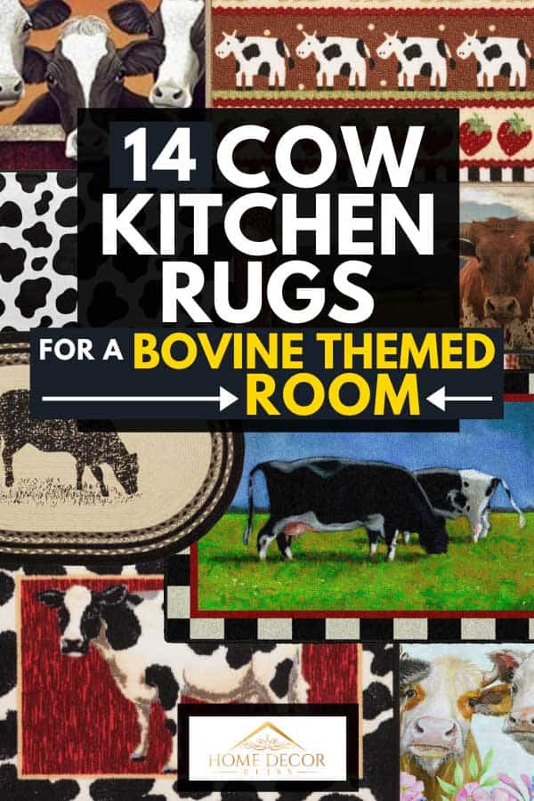 A collage of cow kitchen rugs for a bovine themed room, 12 Cow Kitchen Rugs For a Bovine Themed Room