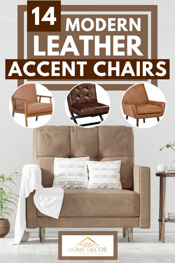 A collage of leather accent chairs with leather sofa and throw pillows on the background