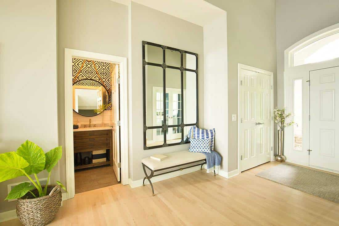 A contemporary home entry hallway foyer with bathroom and interior front door