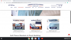 American Blanket Company website product page