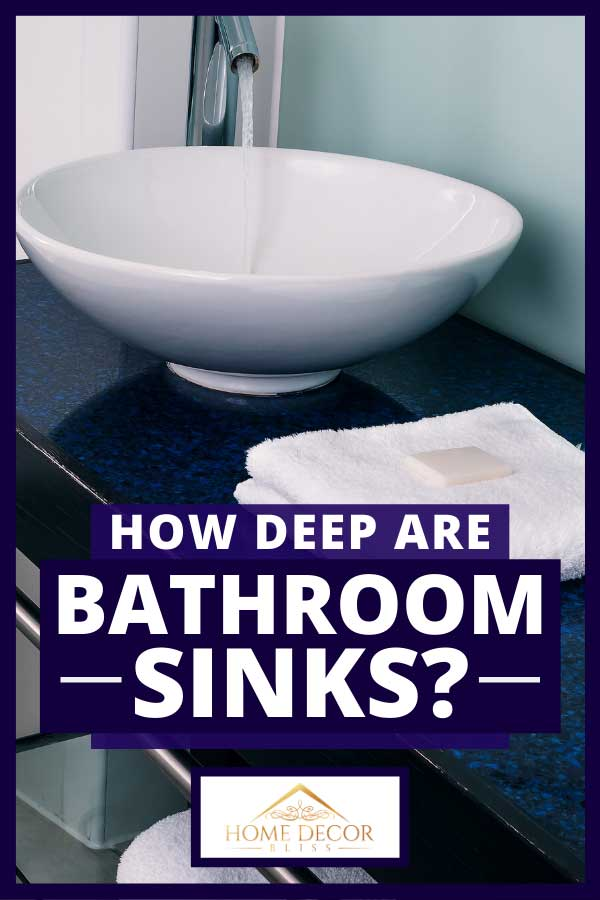 Bathroom sink counter with white towels and soap, How Deep Are Bathroom Sinks?
