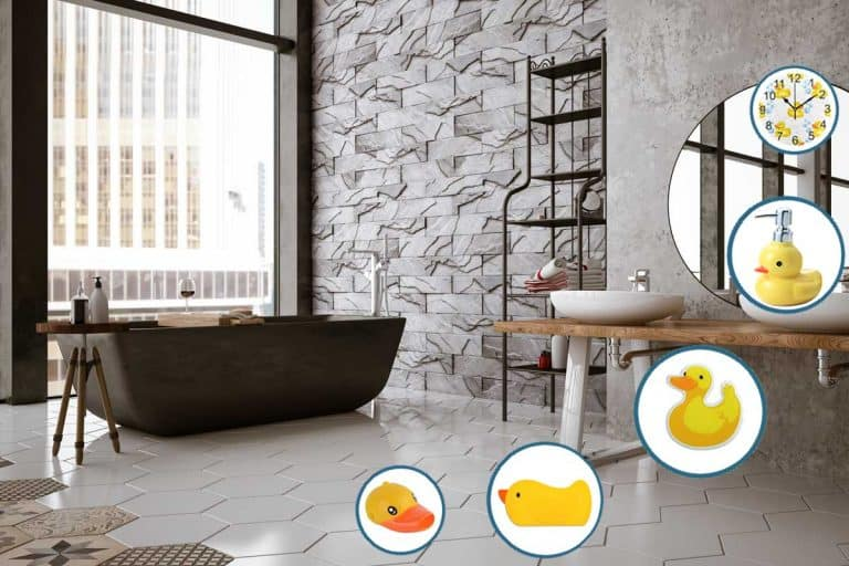 Bathtub placed near building window with crack texture decorative wall paneling design, 14 Fun Rubber Ducky Bathroom Accessories