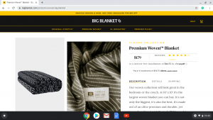 Big Blanket Co. website product page