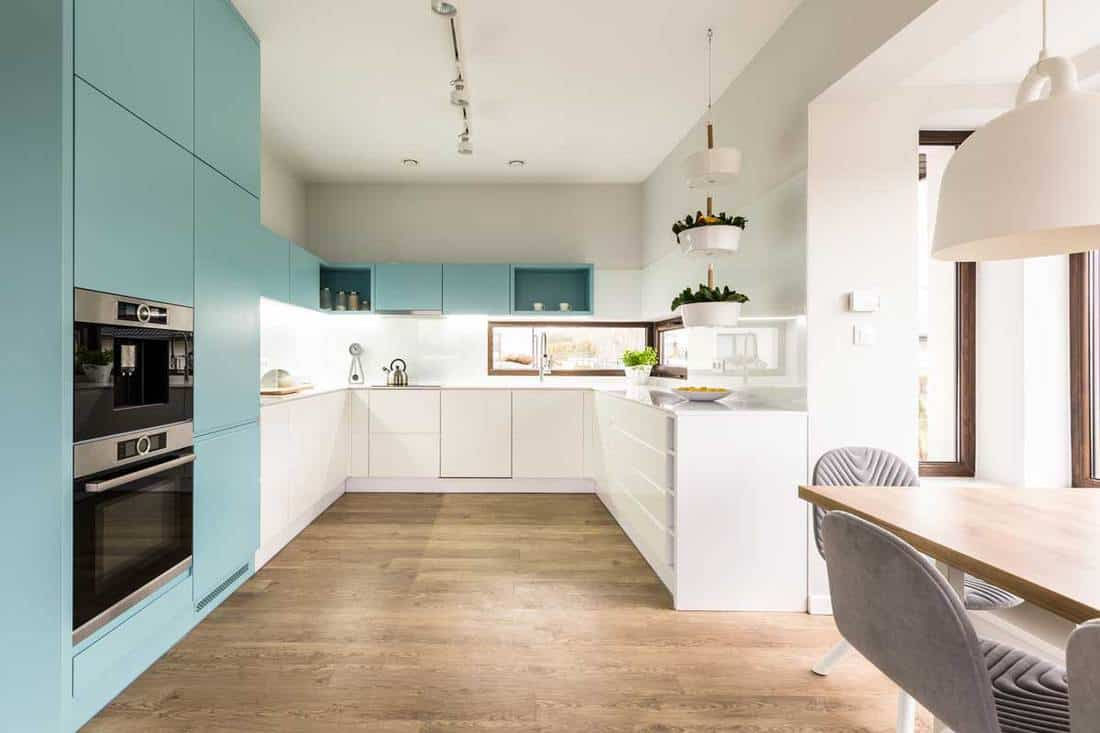 Blue and white cabinets in modern kitchen interior with wooden floor