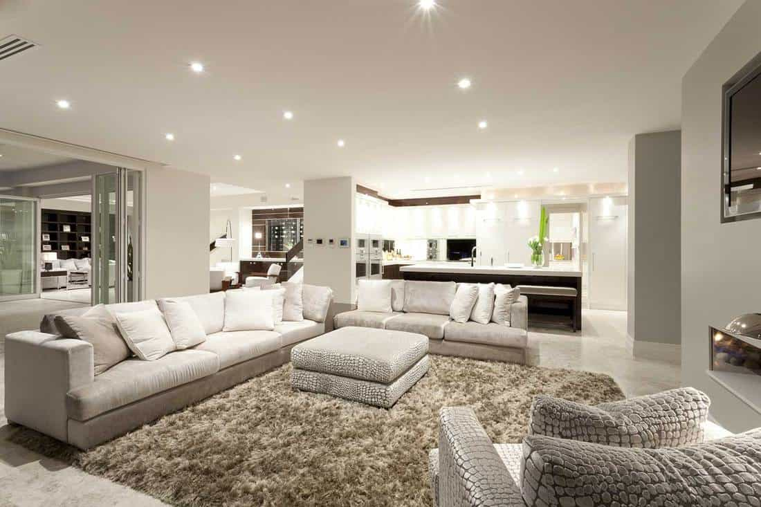 Cozy living room with white walls, tiled floors, two spacious sofas, an armchair and a fluffy carpet