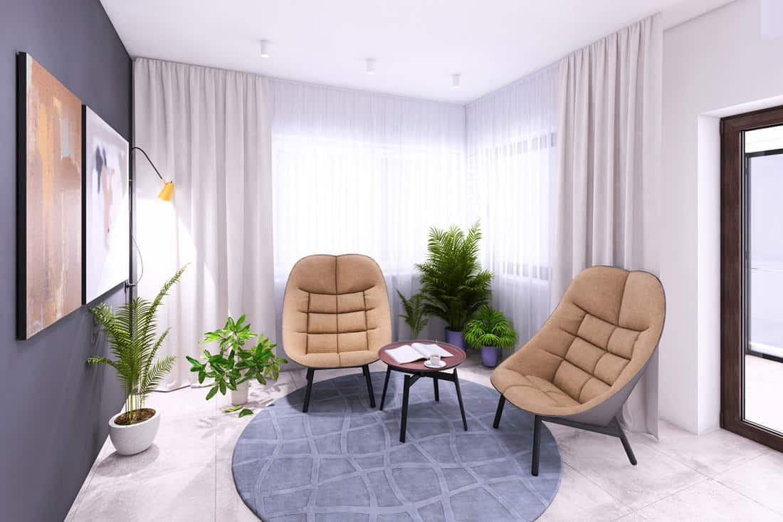 Dark gray colored wall with paintings and comfortable looking chairs with white curtains