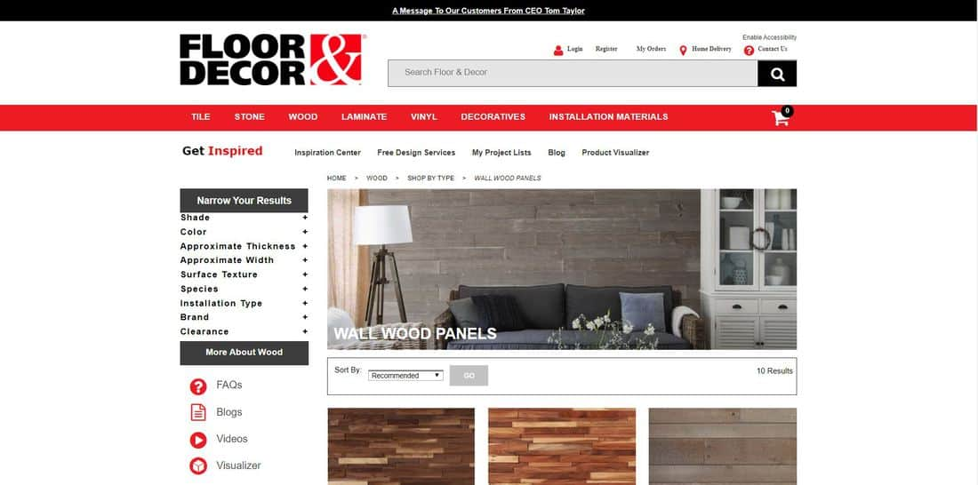Floor and decor website homepage