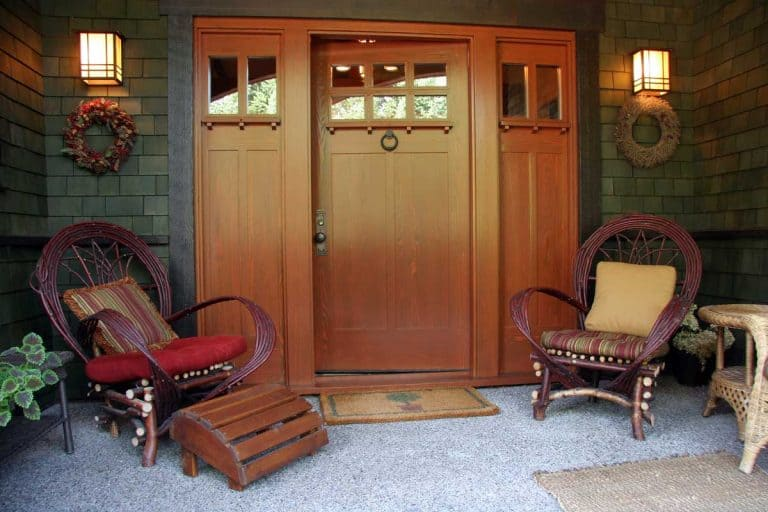 Front porch and entrance of home, rustic front porch with wooden doors, beautiful lighting on front porch, How Big Should A Front Porch Light Be?