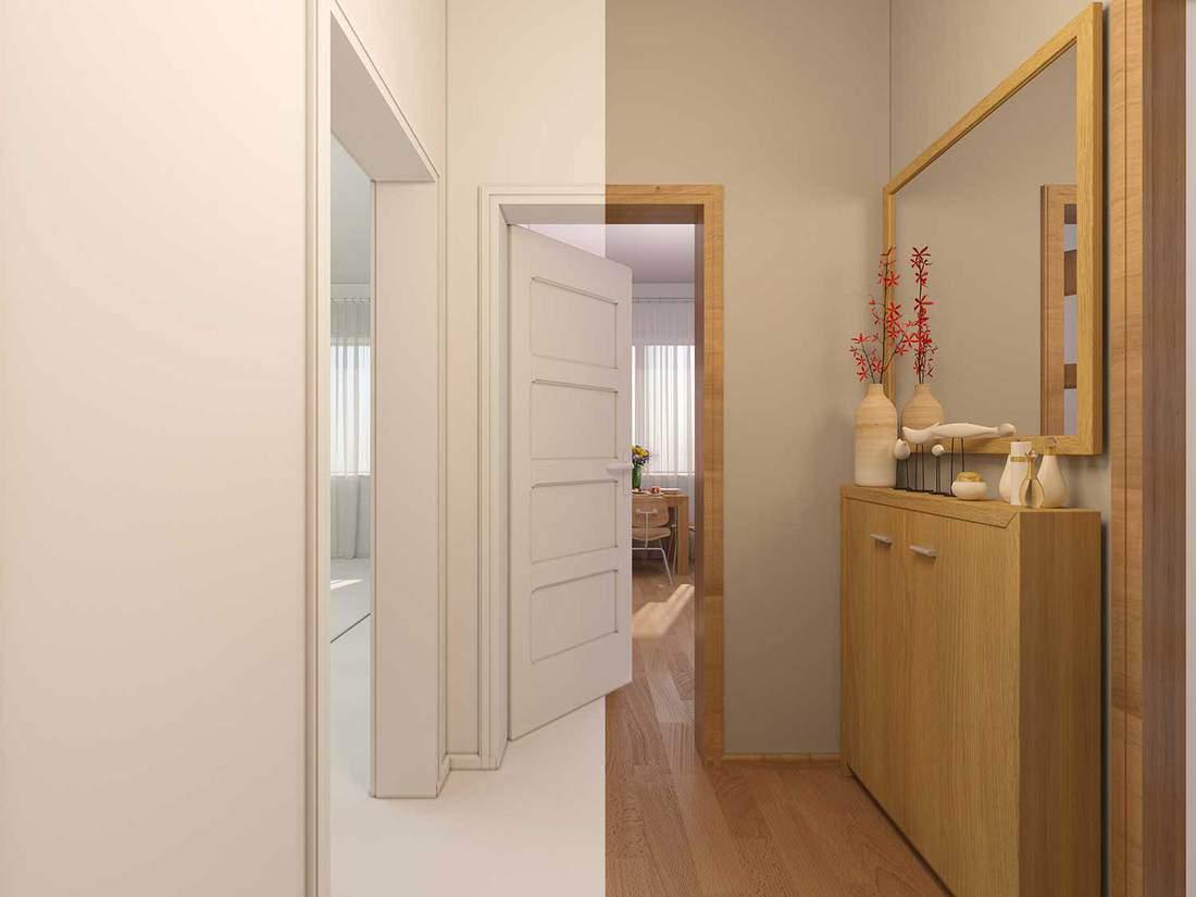 Interior design entrance hall in a studio apartment in modern minimalist style