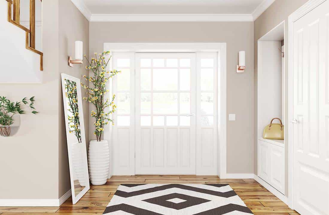 Interior design of modern hallway with white doors, hardwood floor and large mirror