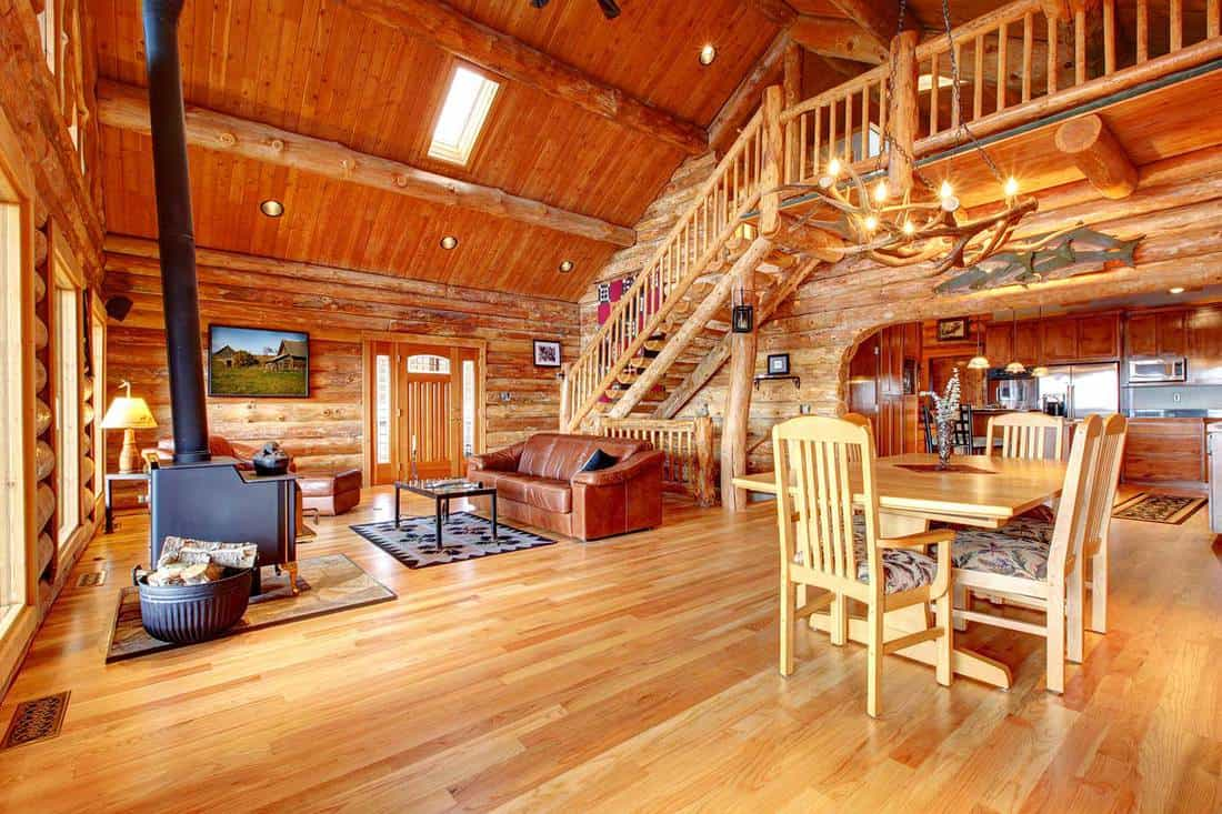 Large luxury log house living room with staircase